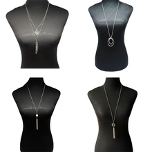 4 Pcs/ Set Retro Exaggerated Circle Pendant Necklace Silver Color Leaf Tassel Long Chain Necklace for Women a suit of retro metal leaf tassel necklace and earrings for women