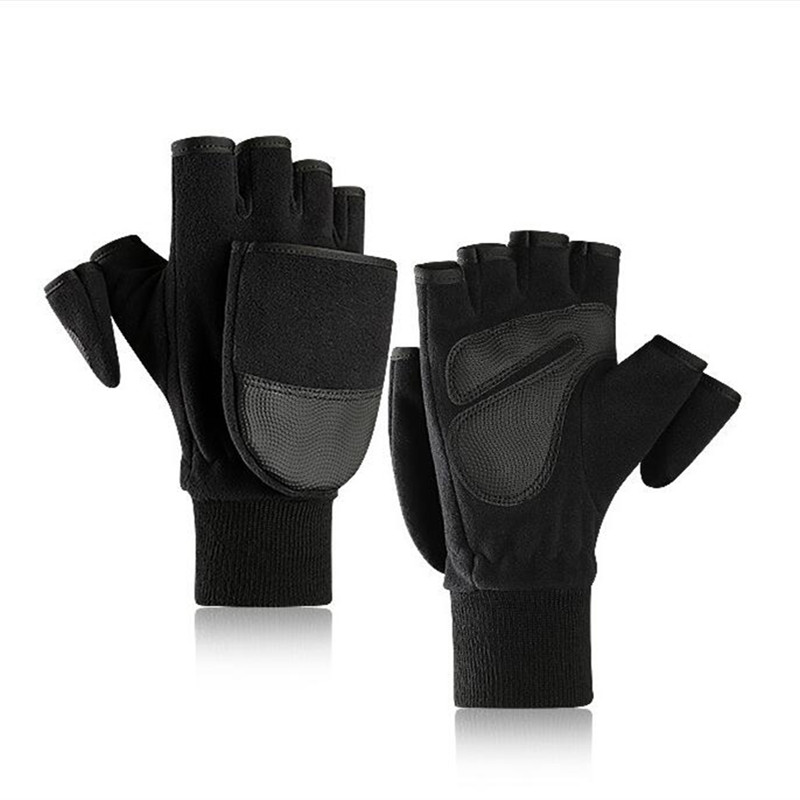 Black Flip Cover Outdoor Travel Hiking Fishing DSLR SLR Camera Photography Gloves Winter Warm Anti-Slip Half Finger
