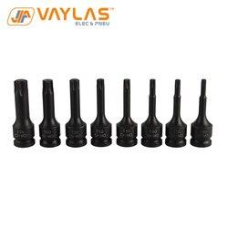 8 Uds T30 T35 T40 T45 T50 T55 T60 T70 Black Torx Socket Set de herramientas llave neumática accesorios Socket Bit Set
