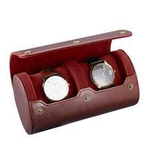NICERIO Travel Watch Case PU Leather Watch Box 2 Slots Watch Storage Organizer Bracket Holder for Travel Business Trip
