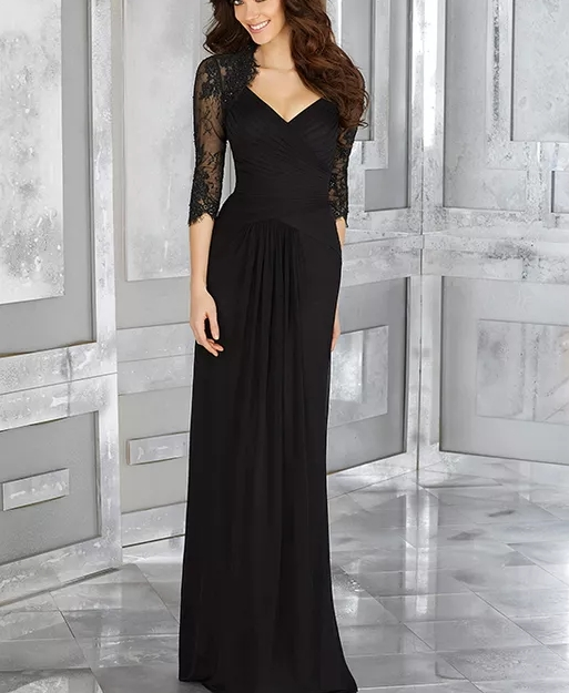 Elegant 3/4 Sleeves Black Full-Length Chiffon And Lace Formal Party Dress Brides Mother Dresses For Weddings Mãe Noiva Plus Size