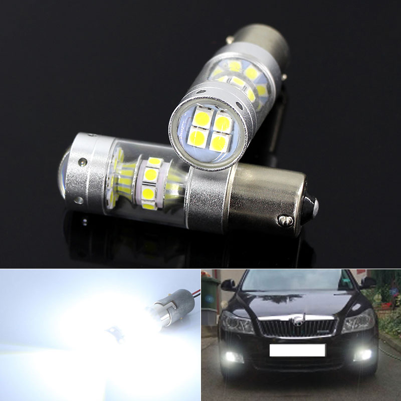 2pcs White Canbus No Error 1156 P21W <font><b>LED</b></font> Bulb for <font><b>Skoda</b></font> Superb <font><b>Octavia</b></font> 2 FL <font><b>2010</b></font> 2011 2012 2013 Daytime Running Lights DRL image