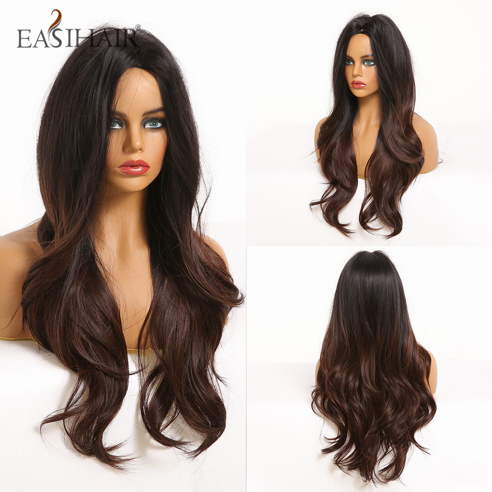 EASIHAIR Long Dark Brown Ombre Synthetic Wigs Middle Part Wavy Wigs For Women Afro Natural Wave Cosplay Heat Resistant Wig