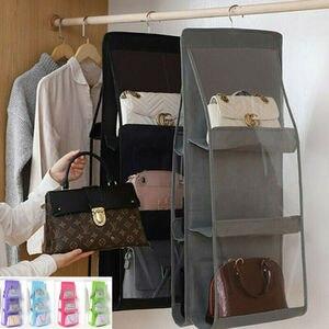 6 Pocket Foldable Handbag Storage Hanging Clear 3 Layers Shelf Bag Organizer Door Sundry Pocket Hanger Rack Hook Hanger