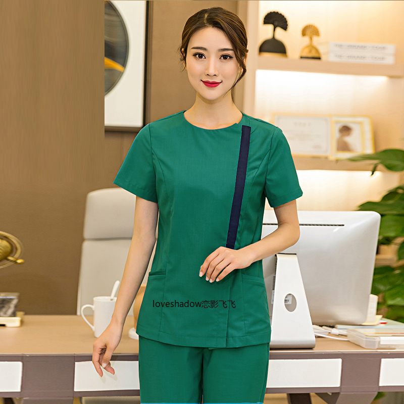 Women Zipper Scrub Top Fashion Round Collar Medical Uniforms Short Sleeve Pure Cotton Doctor Nurse Work Clothes ( Just A Top)