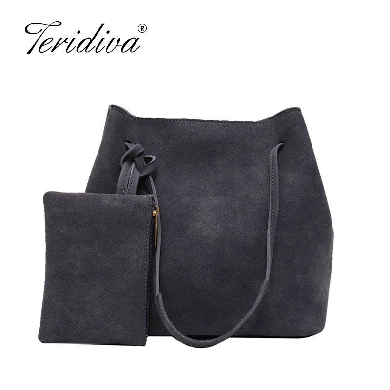 Vintage Nubuck Leather Bags 2019 Larger Totes Women Crossbody Bags All-match Faux Suede Shoulder Bag Motorcycle Messenger Bags