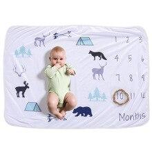 Детское одеяло-Ростомер для новорожденных памятные вещи для роста Мультфильм Печать фотография ежемесячный Фон Ткань Дети подарки, сувениры