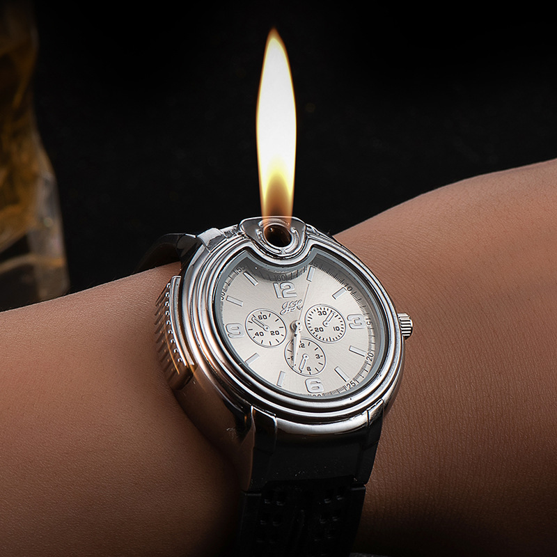 Watch Watch Style Metal Open Flame Lighter Creative Men's Sports Open Flame Watch Lighter Inflatable Adjustable Fmale Encendedor Jewelry & Watches