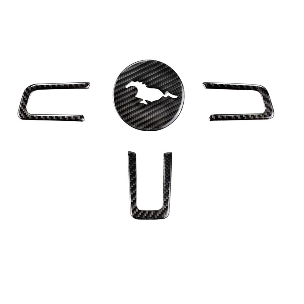 포드 머스탱 2015 2016 2017 탄소 섬유 스티어링 휠 엠블럼 자동차 스타일링 3D 자동차 스티커-에서자동차 인테리어 스티커부터 자동차 및 오토바이 의