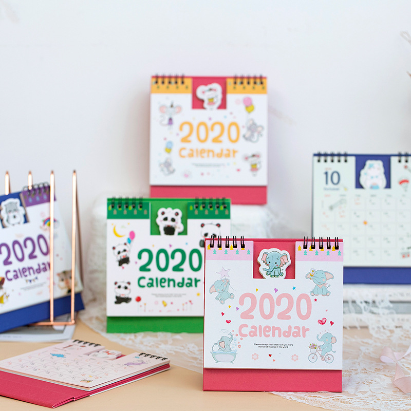 Cartoon Mini Desk Calendar 2020 Creative Cartoon Small Animal Bump Calendar Planning 2020 Office School Supplies Stationery