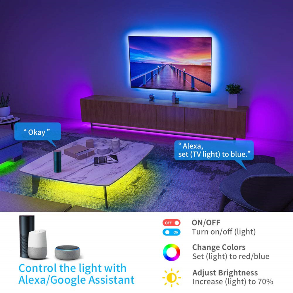 Smart Wifi Music LED Strip Lights USB TV Backlight Kit with Alexa Google Home 16 Color Changing 5050 LED Bias Lighting