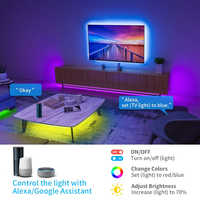 Tuya Smart Wifi música luces de tira de LED TV USB retroiluminación Kit con Alexa Google 16 Color cambiando 5050 LED iluminación bias