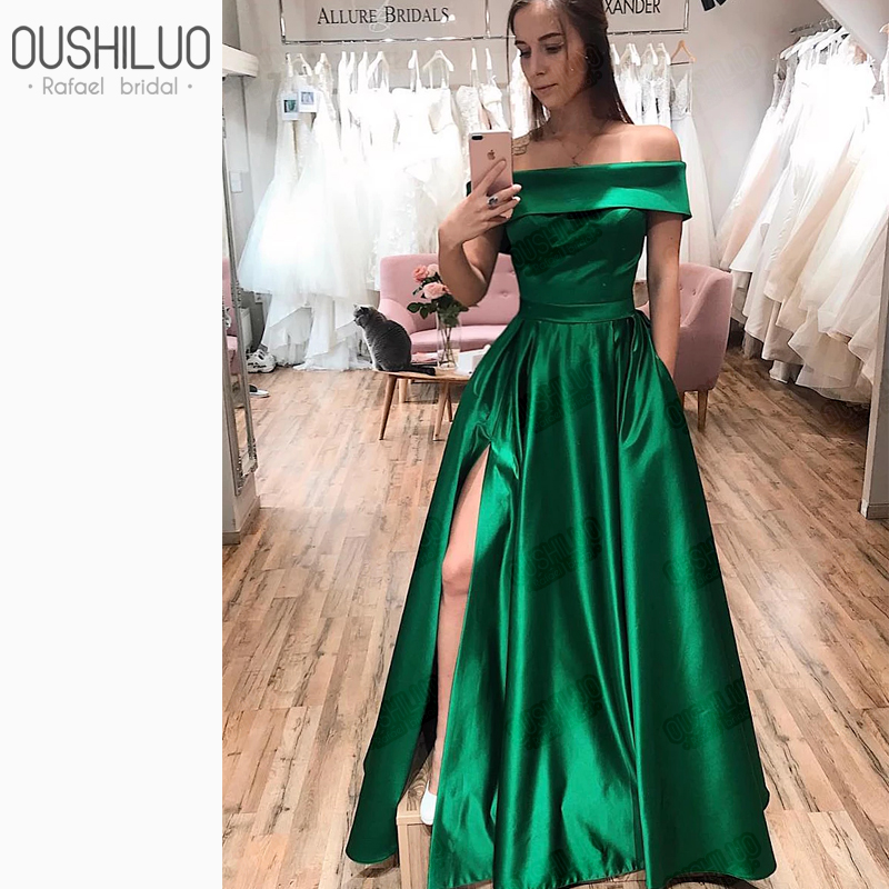 Custom Made   Prom     Dresses   Long Green A Line   Prom     Dress   For Plus Size Women 2020 Off The Shoulder Side Split Party Wear