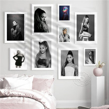 America Singer Actress Ariana Grande Black And White Art Portrait Poster, Ariana Grande Vintage Photo Decor Mural, Fans Collect