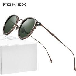 FONEX Acetat Titan Sonnenbrille Männer Vintage Retro Runde Polarisierte Sonne Gläser für Frauen 2020 Neue Hohe Qualität UV400 Shades 850