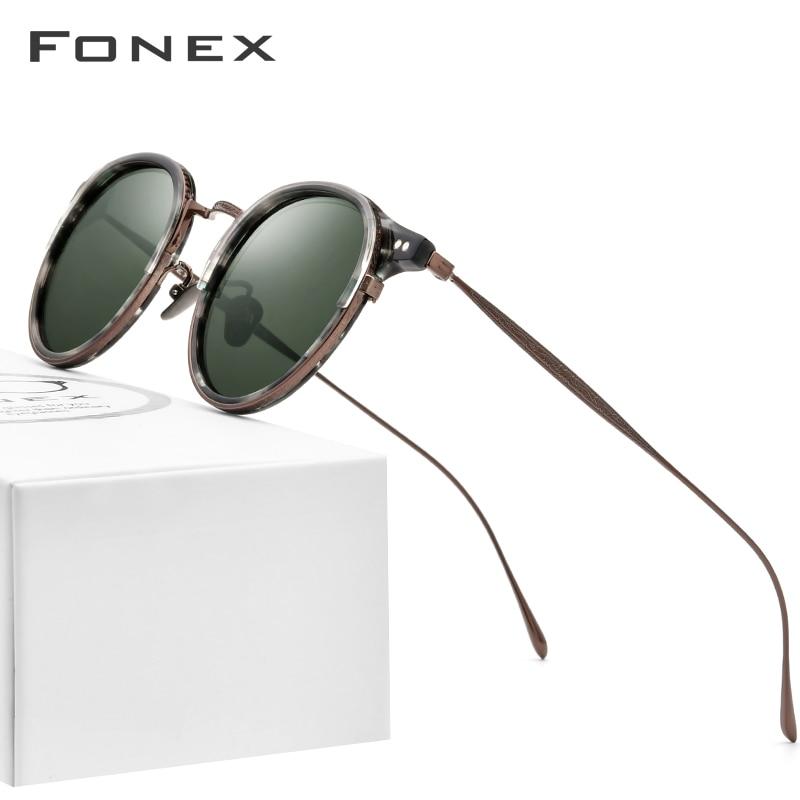 FONEX Acetate Titanium Sunglasses Men Vintage Retro Round Polarized Sun Glasses For Women 2020 New High Quality UV400 Shades 850