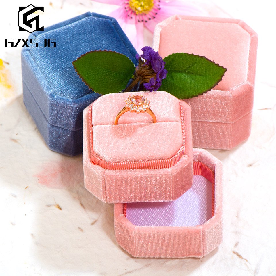 GZXSJG Velvet Octagon Jewelry Boxes For Wedding  Pink Green Ring Boxes For Wedding Engagement Bridal Gifts  Display Packing