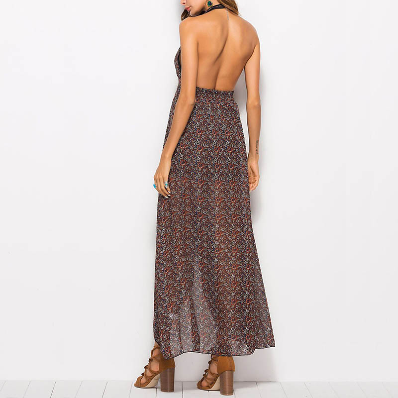 Womens Summer Sexy Dress Shorts Floral Beach Bohemia Long Hanging Neck Dress JS26
