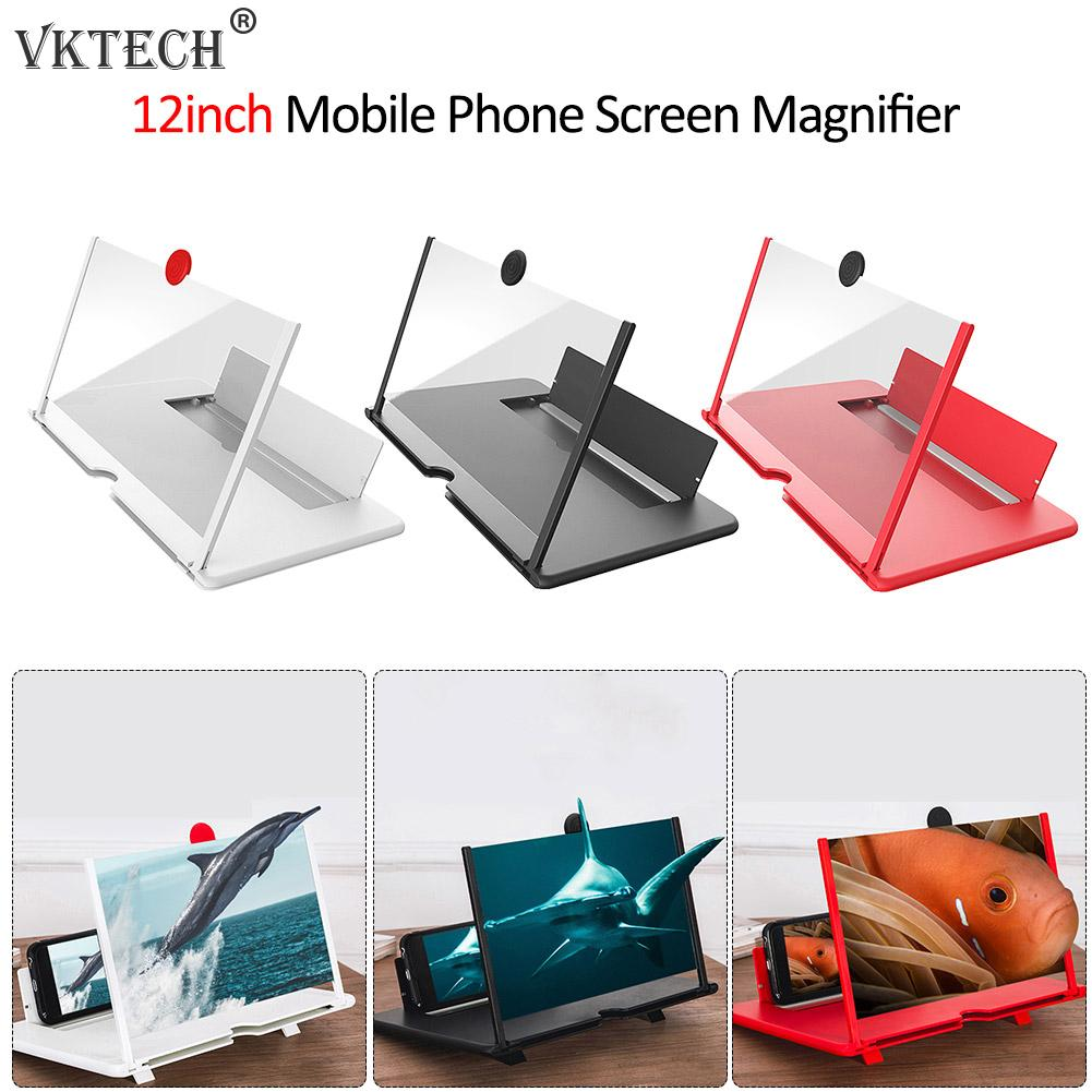12 Inch 3D Mobile Phone Screen Magnifier HD Video Amplifier With Foldable Holder Magnifying Glass Smart Phone Stand Bracket