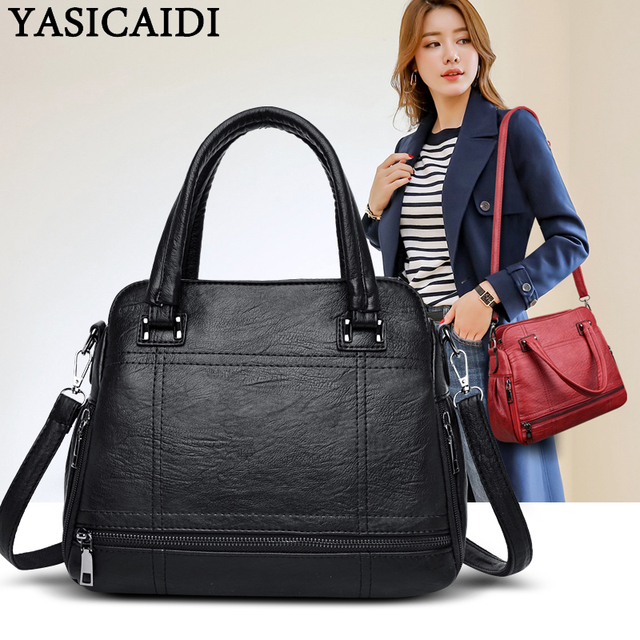 YASICAIDI 2019 Luxury Leather Women Handbags Thread PU Top-Handle Ladies Handbags Female Crossbody Shoulder Bag Sac A Main Femme