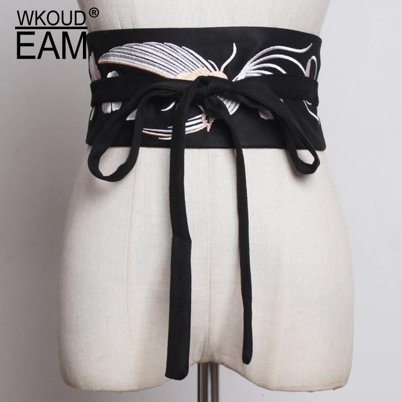 WKOUD EAM 2020 New Fashion Spring Trendy Corset Belt For Women Casual Wide Waistband Female Crane Embroidery Cummerbunds ZK002