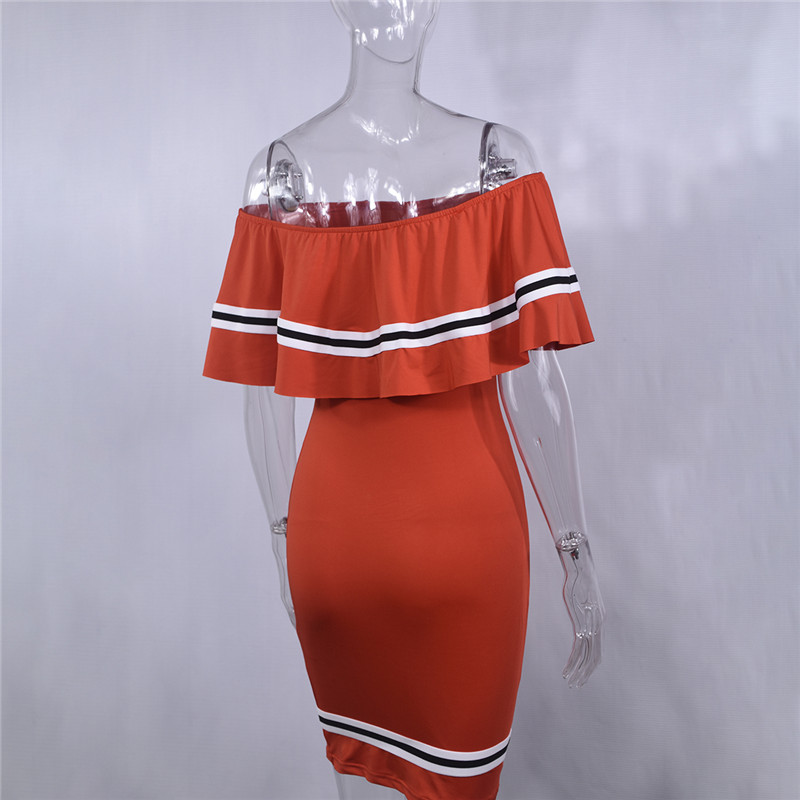 H005fa3c786c7440887666e528f4edf18j - Off Shoulder Slash Neck Sexy Autumn Party Dress Striped Ruffles Short Sleeve Summer Dress Women Plus Size Casual Beach Vestidos