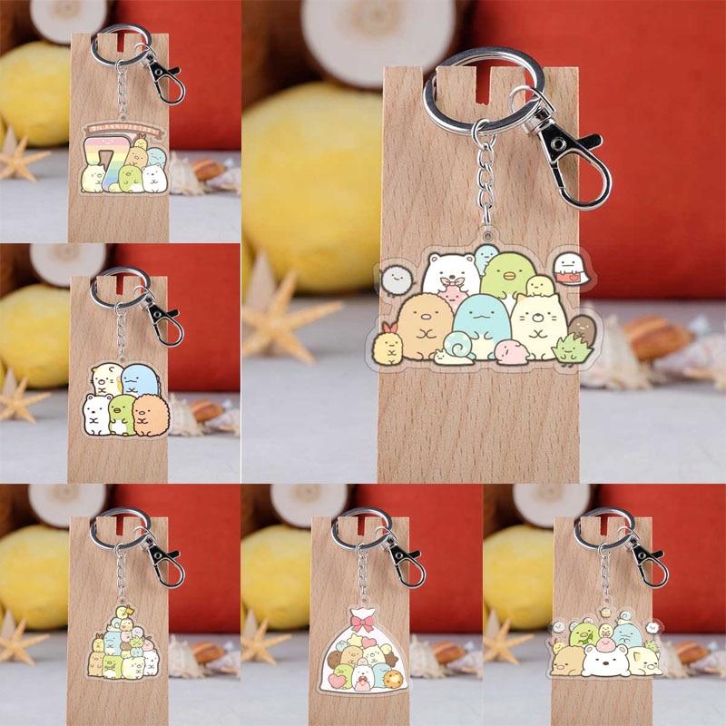 Cartoon Sumikko Gurashi Keychain Cute Animal Sumikko Gurashi Acrylic Pendent  Key Rings