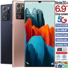 Globale Version Galax Note30 + Handy Snapdragon 865 Android 10,0 12GB + 512GB 6000mAh Fingerprint Entsperren 6.9