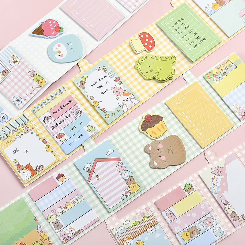 Cute Forest Animals Party 6 Folding Memo Sheet Pad Sticky Notes Planner Sticker To Do List Decorative Stationery Gift