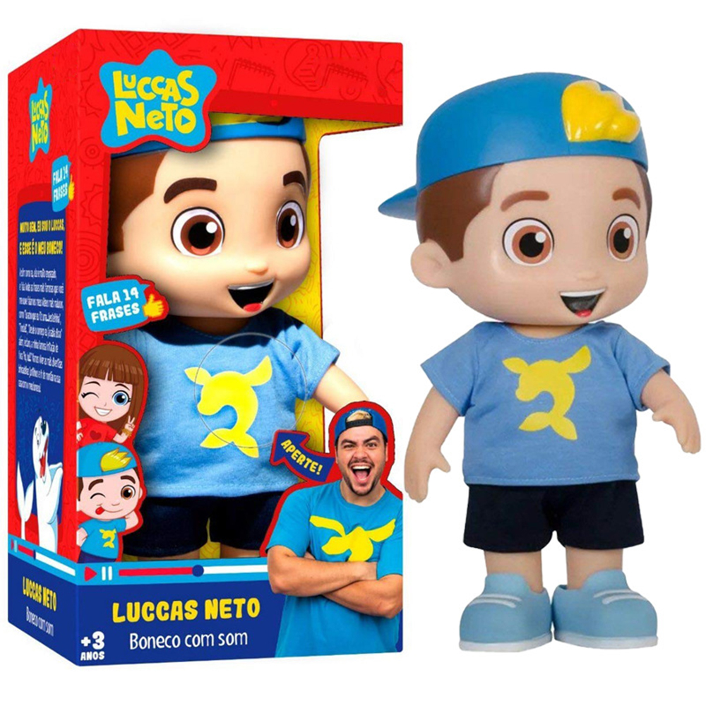 Hot Sale 25cm With Sound Luccas Neto Vinyl Doll Action Figure Toys Kids Collection Model Birthday Christmas Gifts
