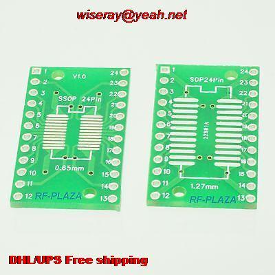 DHL/EMS 300pcs SOP24 0.65mm SSOP24 1.27mm 4~24P To DIP24 2.54mm IC PCB Adapter Converter-PCB Connector-A6