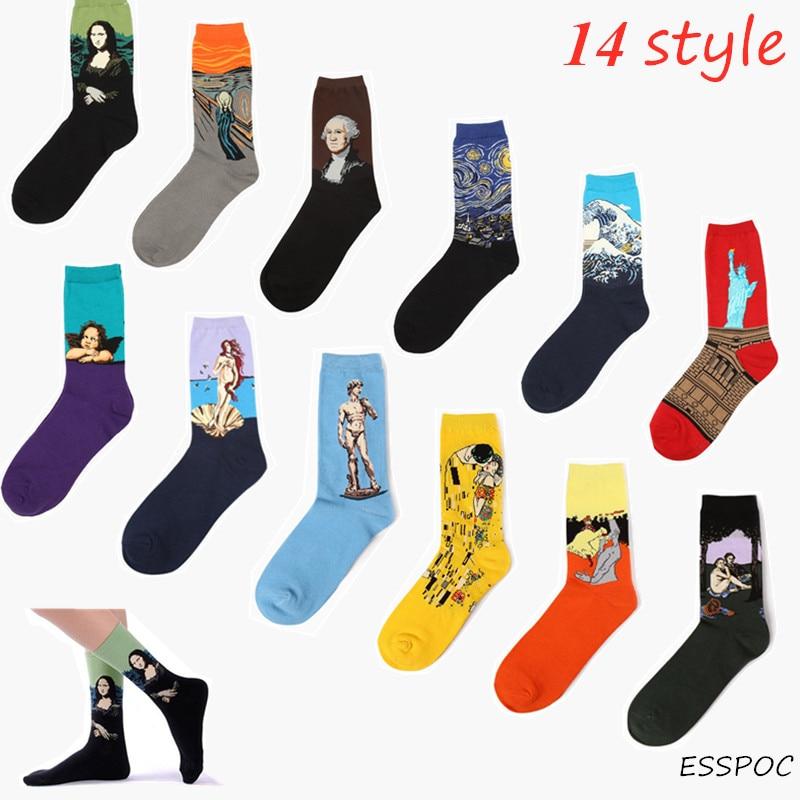 14 Style Retro Van Gogh Mona Lisa Gustav Klimt Long Sock Winter Autumn Cotton Socks Art Oil Painting Socks