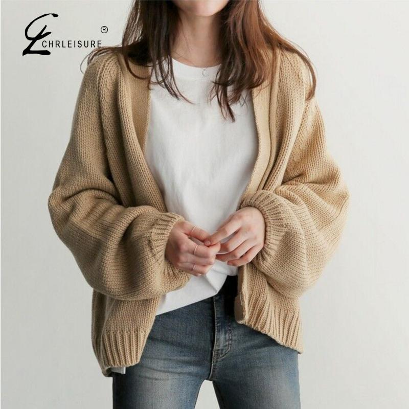 Short Knitted Cardigan Sweater Women 2009 New Korean Solid Color Lantern Sleeve Sweater Jacket Girls