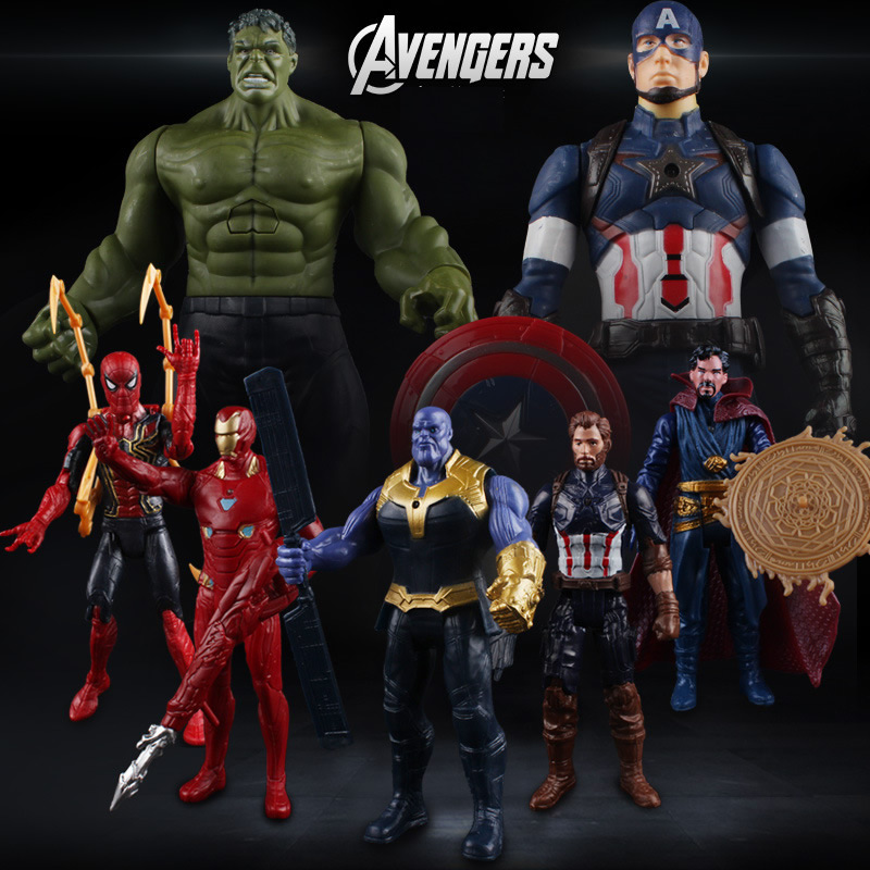 13 with Light & Sound Marvel Avengers Action Figures Iron Spider Super Man Captain America Figures Boys Toys Gift image