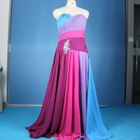 Strapless Formal Dress Purple Blue Contrast Colors Chiffon Sweetheart Ruffled Long Bridesmaid Dresses M1