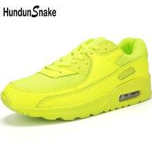 Hundunsnake sarı Sneakers erkek hava yastığı erkekler koşu ayakkabıları spor ayakkabı kadın spor ayakkabılar erkekler 2018 koşu Krasovki T205