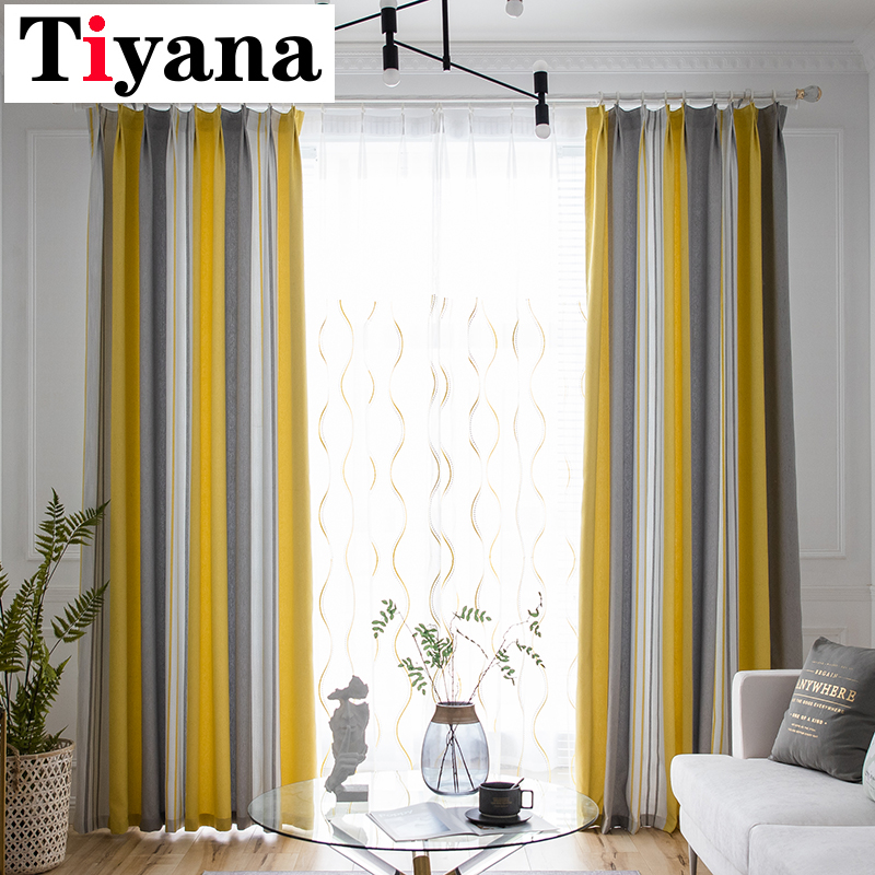 Tiyana Modern Striped Blackout Curtains For Living Room Bedroom Yellow Thick Window Drapes Kitchen Curtains Cortina HP78X