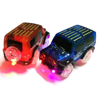LED Light Up Electric Car Toy Mini Race Car Truck Magic Track Kids Toy Christmas Gift Cool Flashing Light For Children
