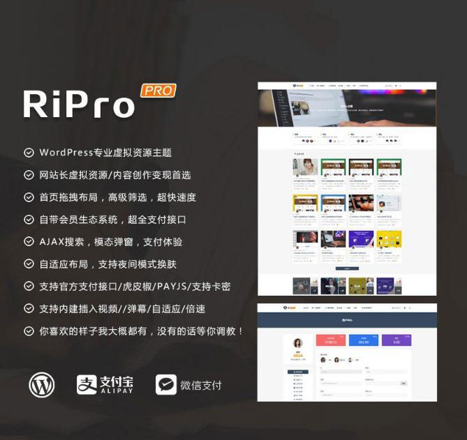 WordPress主题 RiProV7.1主题最新破解去授权无限制版本
