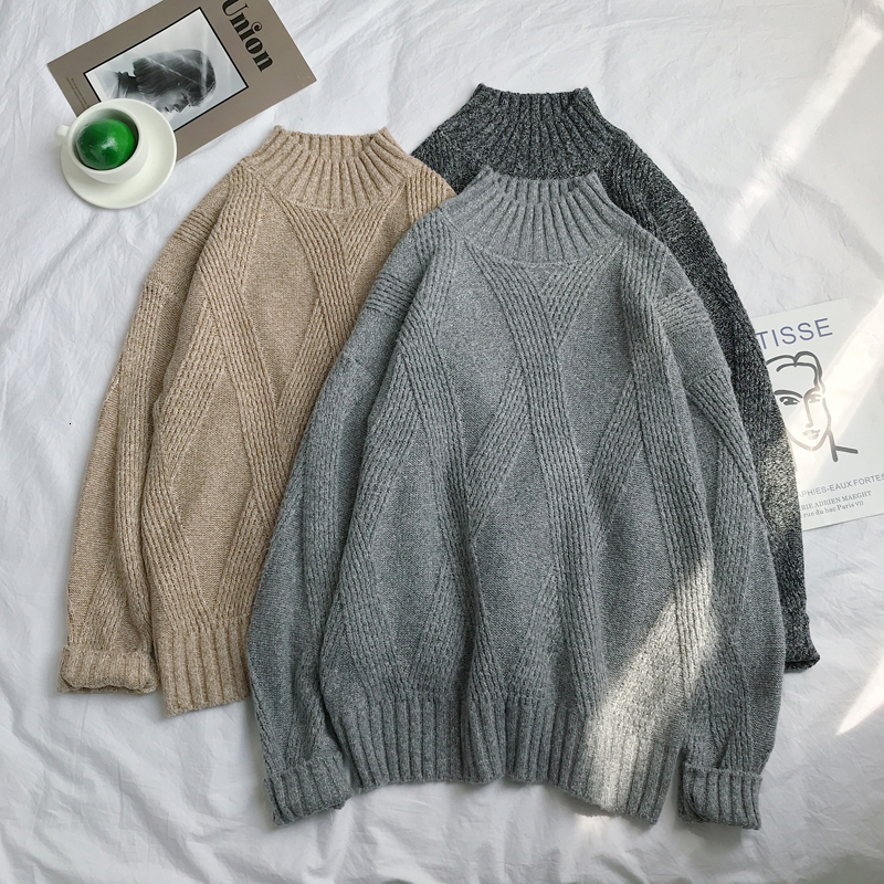 Winter Thick Sweater Men's Warm Fashion Solid Color Casual Knit Pullover Street Wild Loose Long-sleeved Sweater Male Clothes
