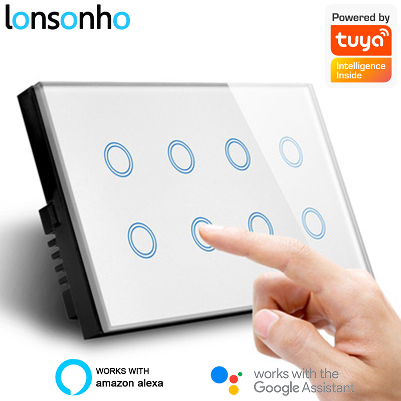 Lonsonho Wifi Smart Switch 8 Gang Glass Touch Wall Light Switches Tuya Smart Life Remote Control Smart Home Google Home Alexa