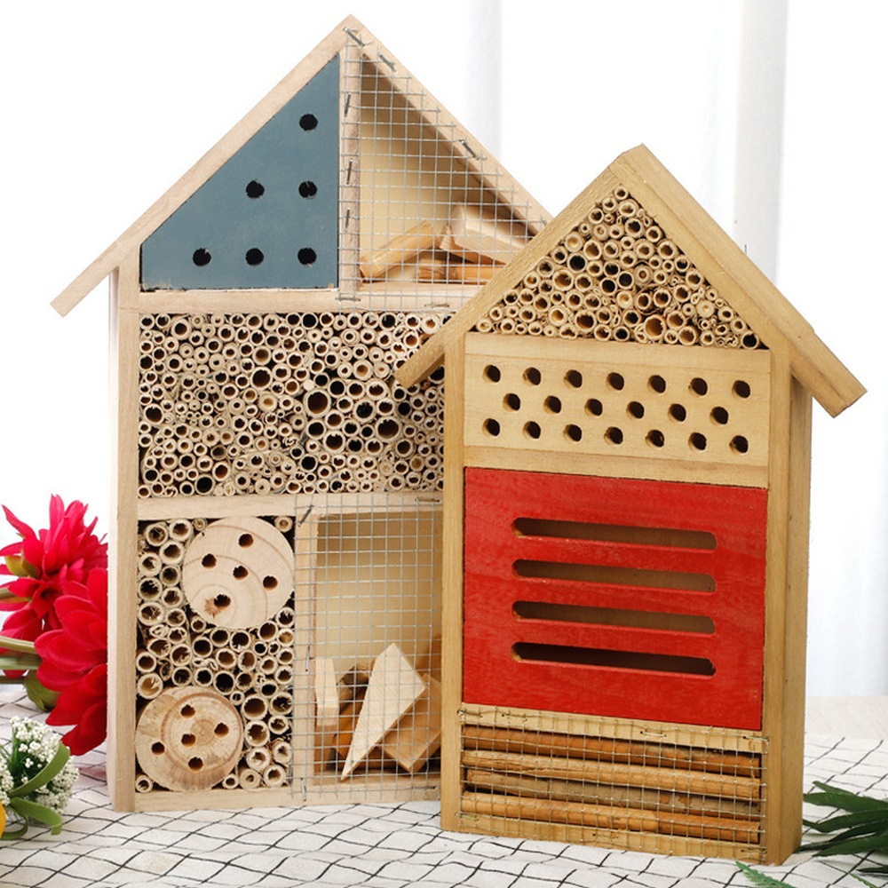 Beehouse Honey Tools Insect Bee House Wooden Insect Bee House Wood Bug Room Hotel Shelter Garden Decoration Nests Box Bee House
