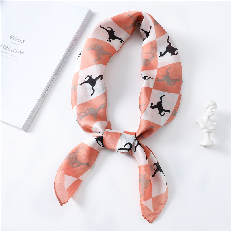2020 Fashion Small Square <font><b>Scarf</b></font> 70*<font><b>70cm</b></font> Horse Print Satin <font><b>Silk</b></font> <font><b>Scarves</b></font> Femme Women's Female Wrap Handkerchief Animal Bandana image