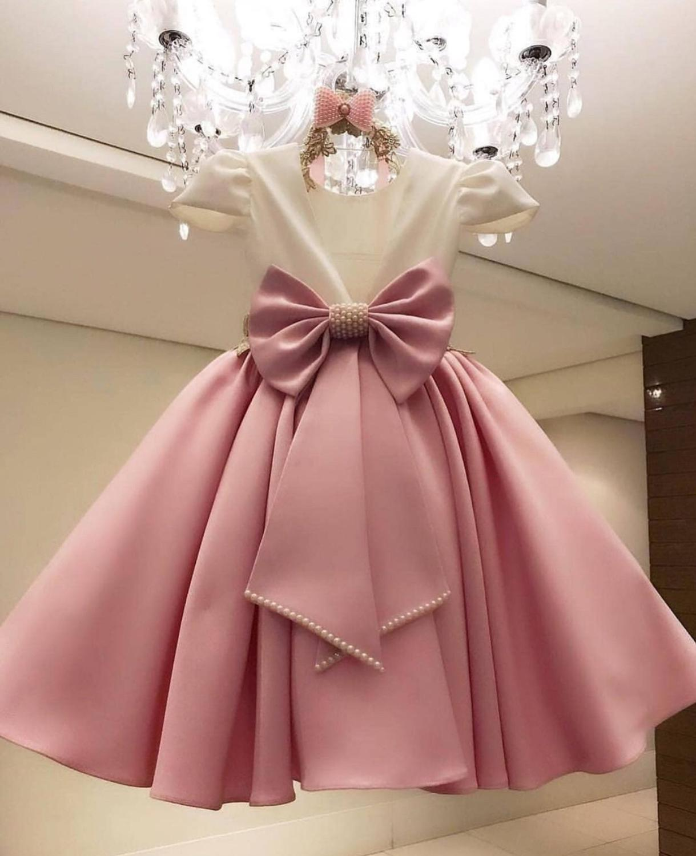 Flower     Girl     Dresses   For Weddings Comunion 2019 Sukienki Satin Bokep Beaded   Flower     Dress   Vestidos De Bowknot Vestido Flores