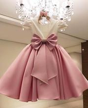 פרח ילדה שמלות לחתונות Comunion 2020 Sukienki סאטן Bokep חרוזים פרח שמלת Vestidos דה Bowknot Vestido פלורס
