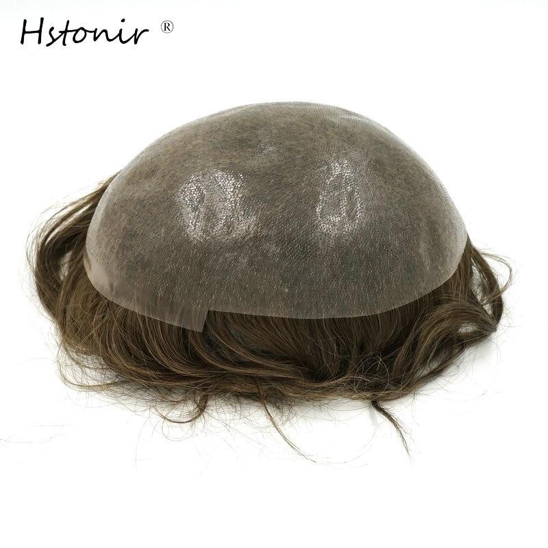 Hstonir Full PU тънка кожа Toupee 6бр. / Лот индийска реми коса 100% чиста ръчно изработена мъжка система за коса H080