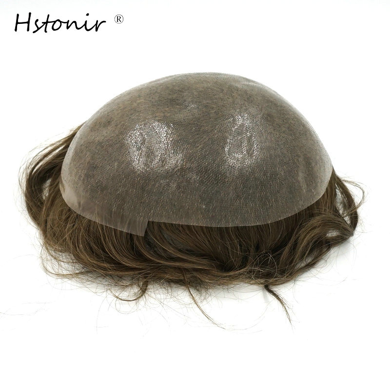 Hstonir Volledige PU Dunne Huid Toupetje 6 stks / partij Indian Remy 100% Pure Handgemaakte Heren Haar Systemen H080