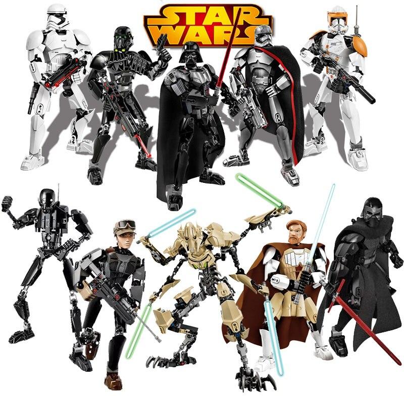 Star Wars Buildable Figure Stormtrooper Darth Vader Kylo Ren Chewbacca Boba Jango Fett General Grievou Action