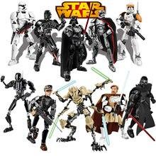 Star wars buildable figura stormtrooper darth vader kylo ren chewbacca bobo jango fett geral grievoou figura de ação brinquedo para o miúdo