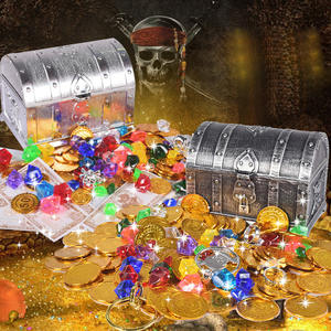 Toys Coin-Toy Treasure-Coins Pirate Gold Plastic Chest Captain Party Children